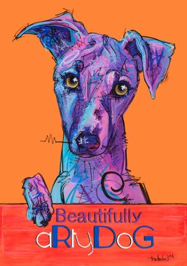 aRtyDoG Omaley, Whippet portrait, boy, Belgium. Acrylics on thick art colored paper, 300gr/m², 59,4x84cm