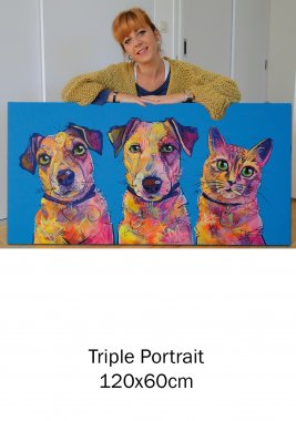 Jack Russells & cat, triple portrait on canvas, 60x190cm