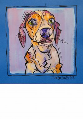 Dashshund, painted sketch on thick colored art paper