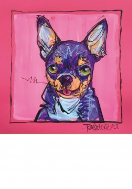 Chihuahua, painted sketch on thick colored art paper