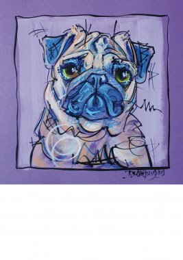 Pug, painted sketch on thick colored art paper