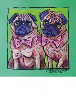Pugs, double portrait, painted sketch on thick colored art paper