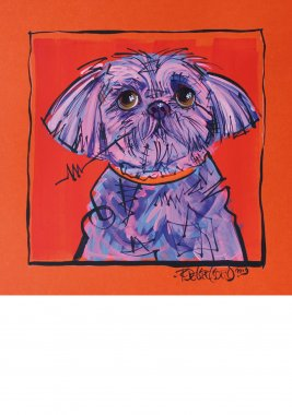 Lhasa Apso, painted sketch on thick colored art paper