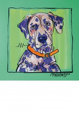 Dalmatian, painted sketch on thick colored art paper