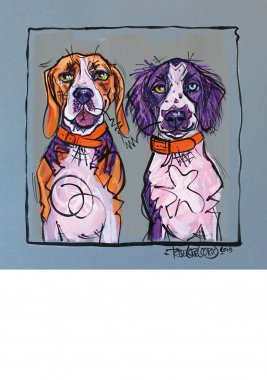 Beagle & Spaniel, painted sketch on thick coloured art paper